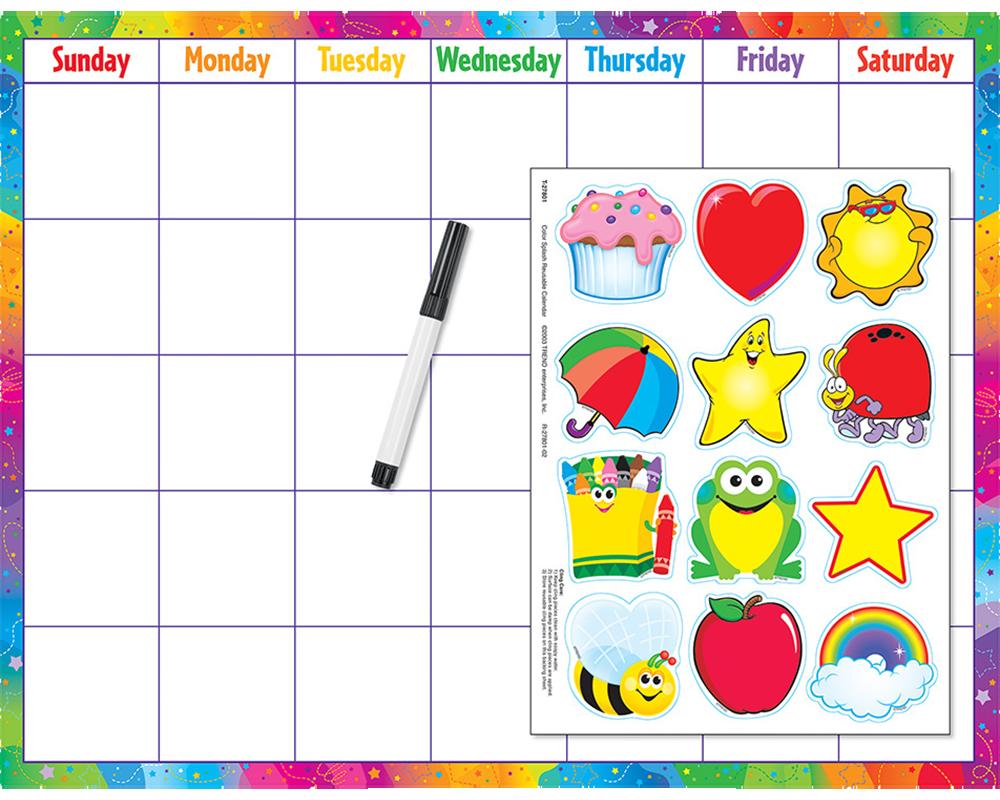 Set de laminas borrables calendario semanal en ingl s 12 for Material de oficina en ingles